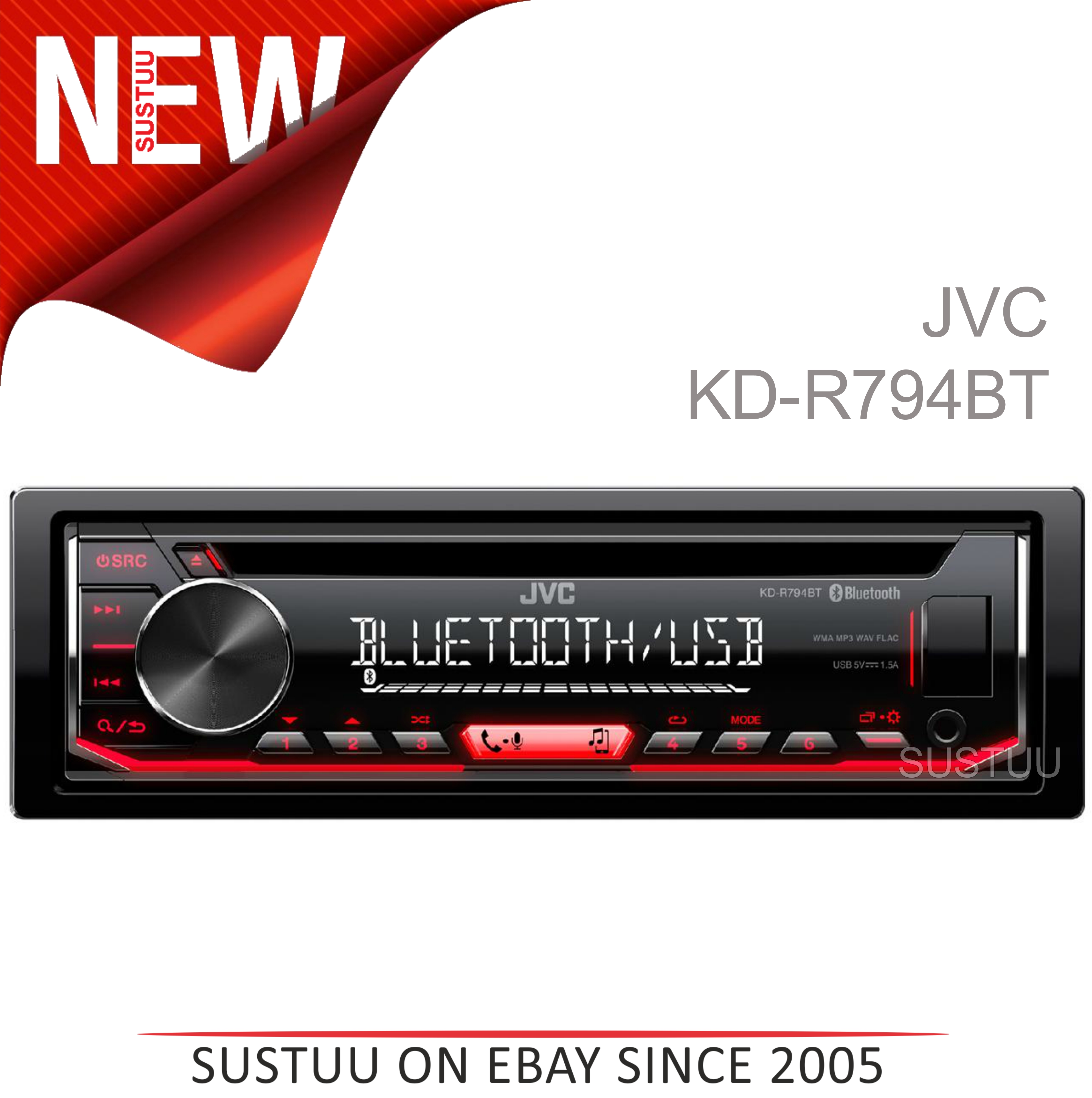 Sentinel JVC Car Stereo│Radio│CD│MP3│USB│AUX│Bluetooth│
