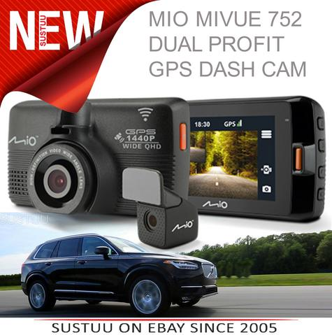 Mio Mivue 752 WIFI Dual|HD Recording|GPS Car Dash & Rear Camera|32GB SD Card|NEW Thumbnail 1