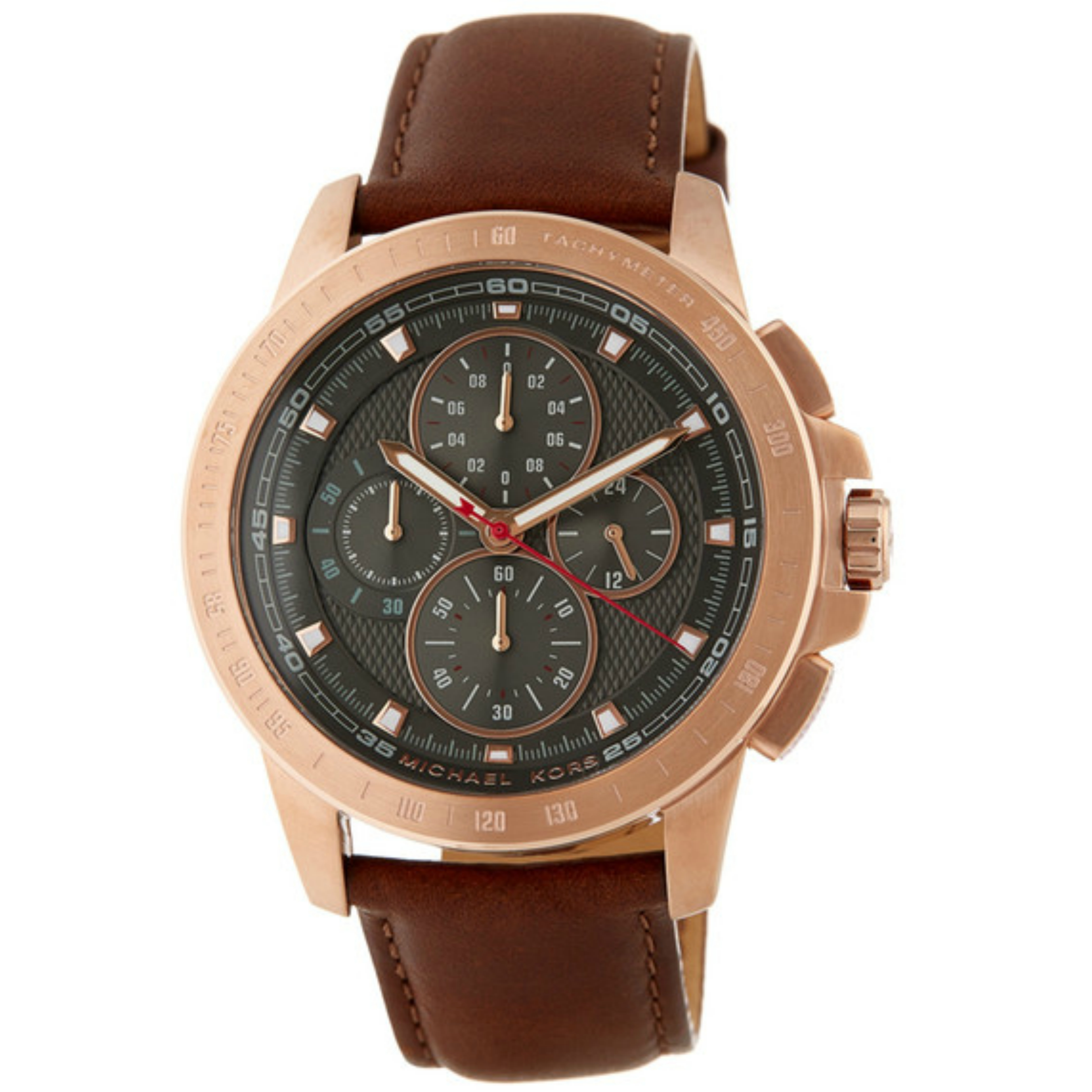 Michael Kors Ryker Mens Chronograph Grey Dial Mahogany Leather Strap Round Watch