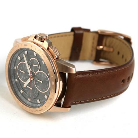 Michael Kors Ryker Mens Chronograph Grey Dial Mahogany Leather Strap Round Watch Thumbnail 4