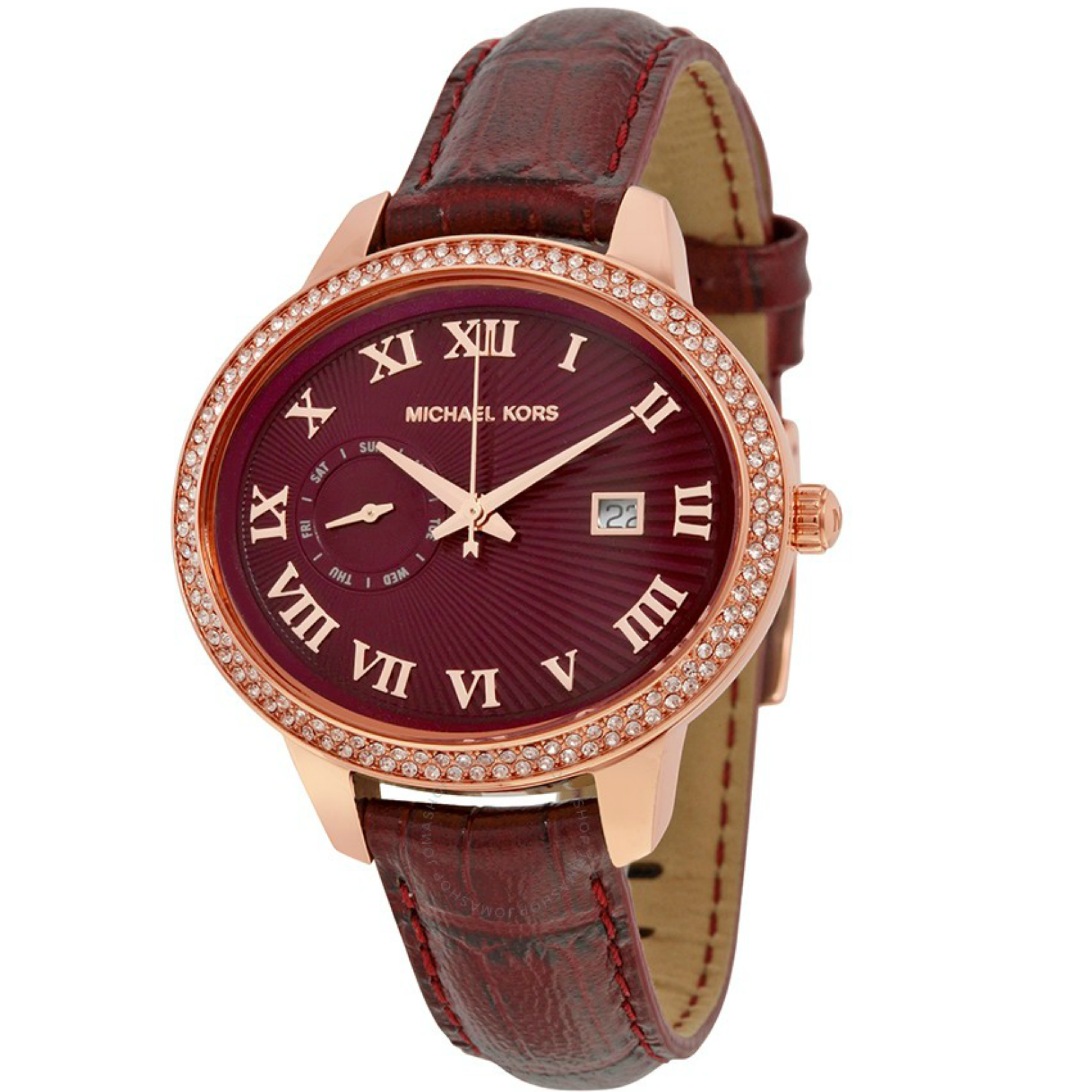 Michael Kors Whitley Burgundy Womens' Rose Gold Round Dial Strap Watch MK2430