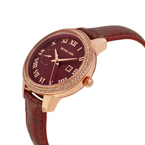 Michael Kors Whitley Burgundy Womens' Rose Gold Round Dial Strap Watch MK2430 Thumbnail 2