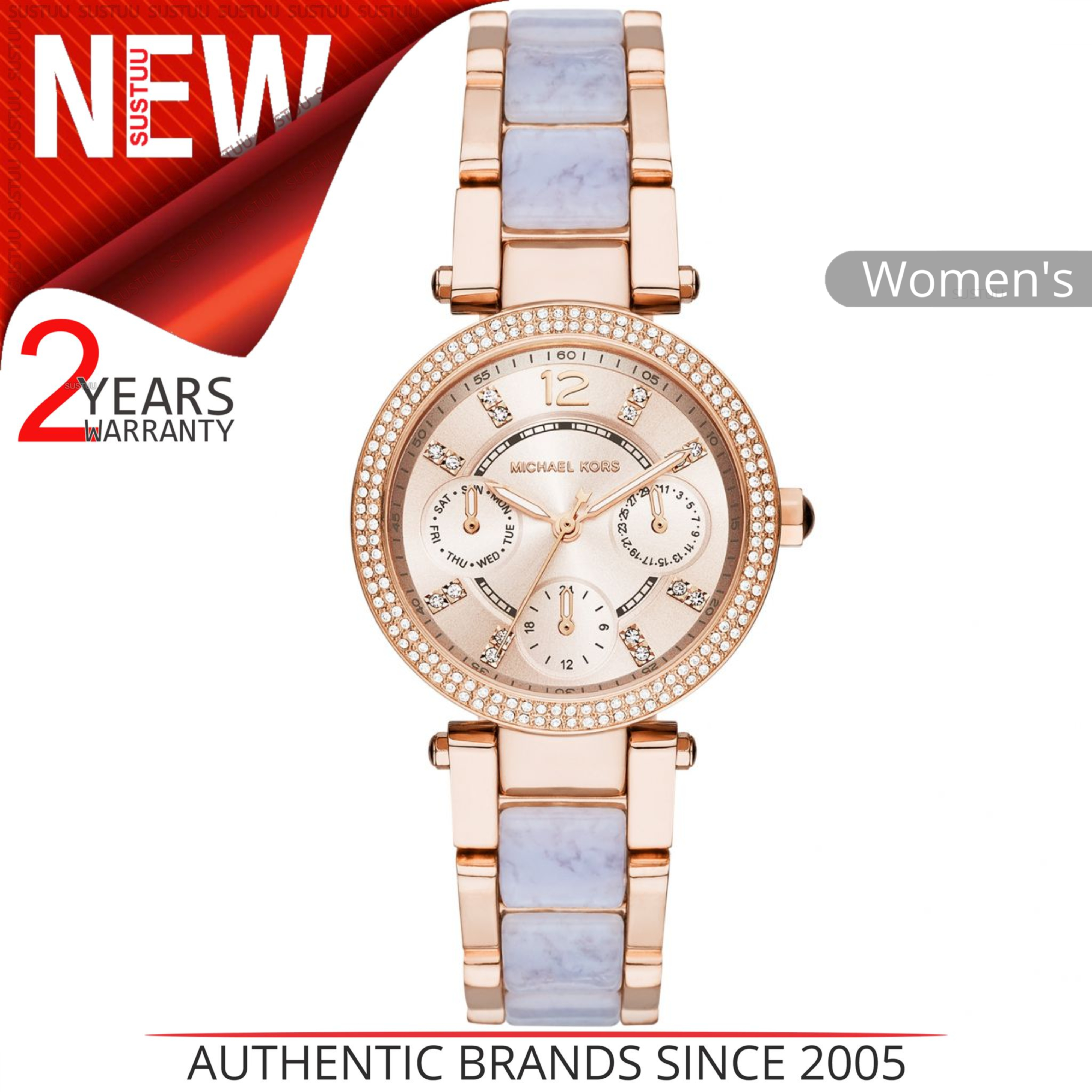 Michael Kors Mini Parker Chrono Multi Function Ladies Rose Gold Tone Round Watch