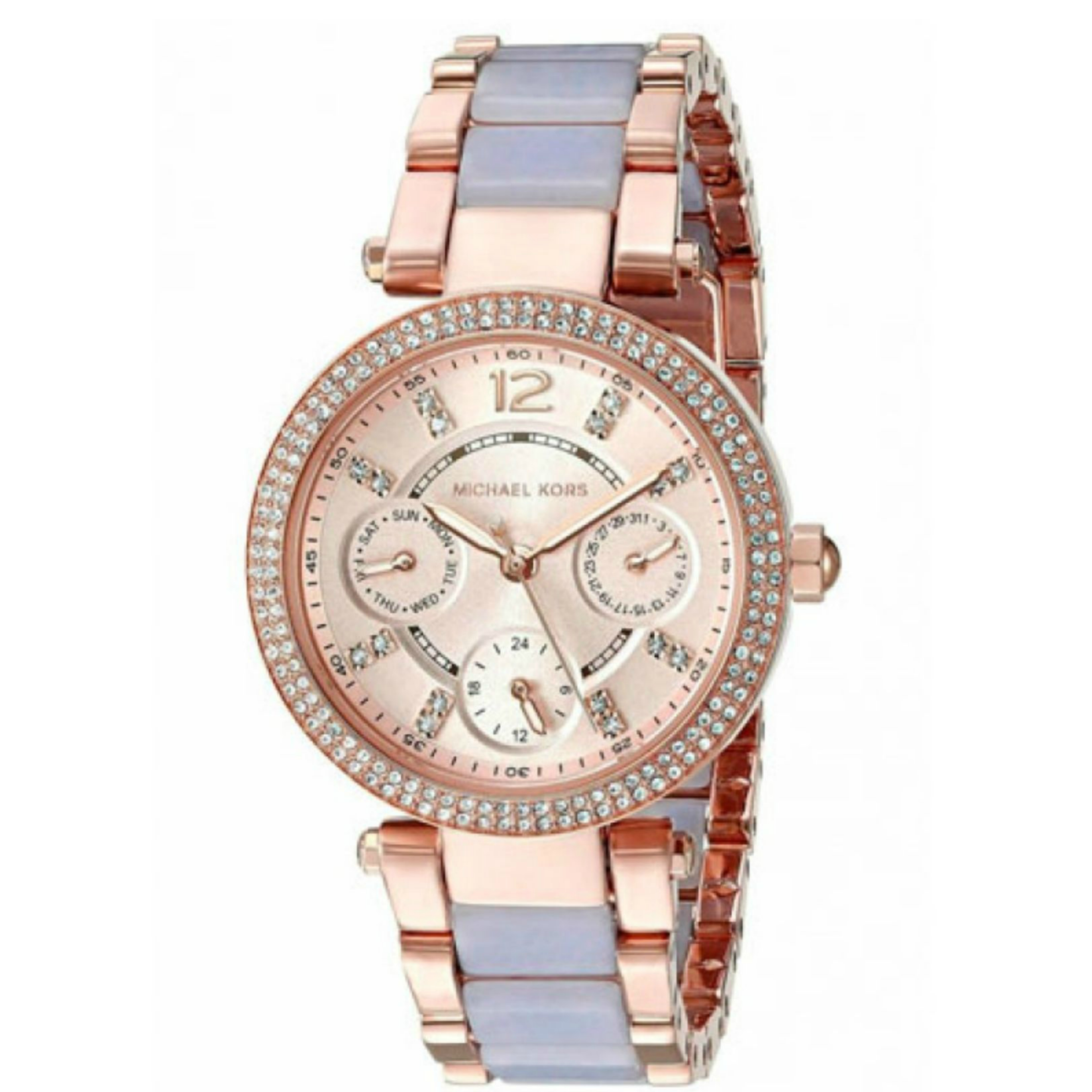 Michael Kors Mini Parker Chrono Multi Function Ladies Rose Gold Tone Round Watch