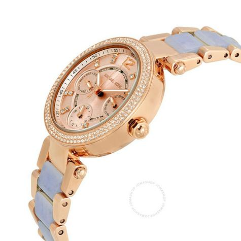 Michael Kors Mini Parker Chrono Multi Function Ladies Rose Gold Tone Round Watch Thumbnail 3