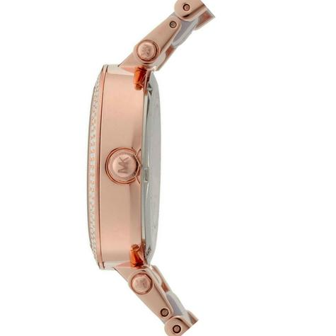 Michael Kors Mini Parker Chrono Multi Function Ladies Rose Gold Tone Round Watch Thumbnail 2