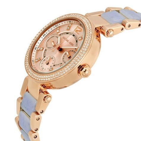 Michael Kors Mini Parker Chrono Multi Function Ladies Rose Gold Tone Round Watch Thumbnail 3