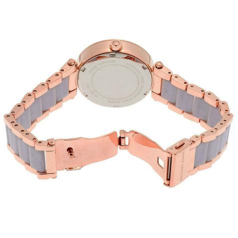 Michael Kors Mini Parker Chrono Multi Function Ladies Rose Gold Tone Round Watch Thumbnail 4