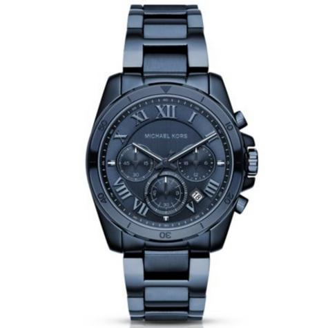 Michael Kors Brecken Men's Blue Ion Plated Round Chrono Bracelet Watch MK6361 Thumbnail 1