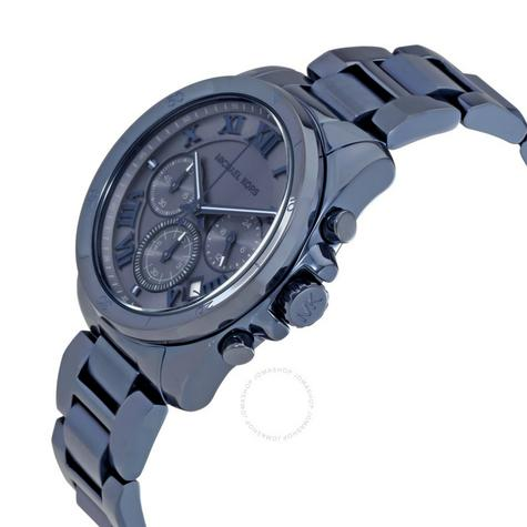 Michael Kors Brecken Men's Blue Ion Plated Round Chrono Bracelet Watch MK6361 Thumbnail 3