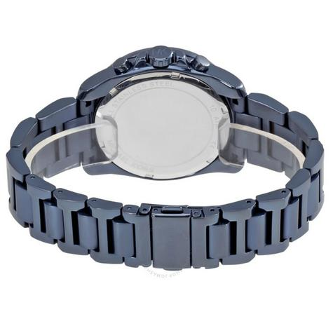 Michael Kors Brecken Men's Blue Ion Plated Round Chrono Bracelet Watch MK6361 Thumbnail 4