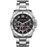 Michael Kors Brecken Stainless Steel Chrono Sleek Black Dial Men's Watch-MK8438