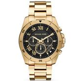 Michael Kors Brecken Men's Black Dial Gold Tone Bracelet Design Chrono WR Watch