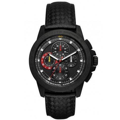 Michael Kors Ryker Men's Chronograph Black Leather Strap Round Dial Watch MK8521 Thumbnail 1