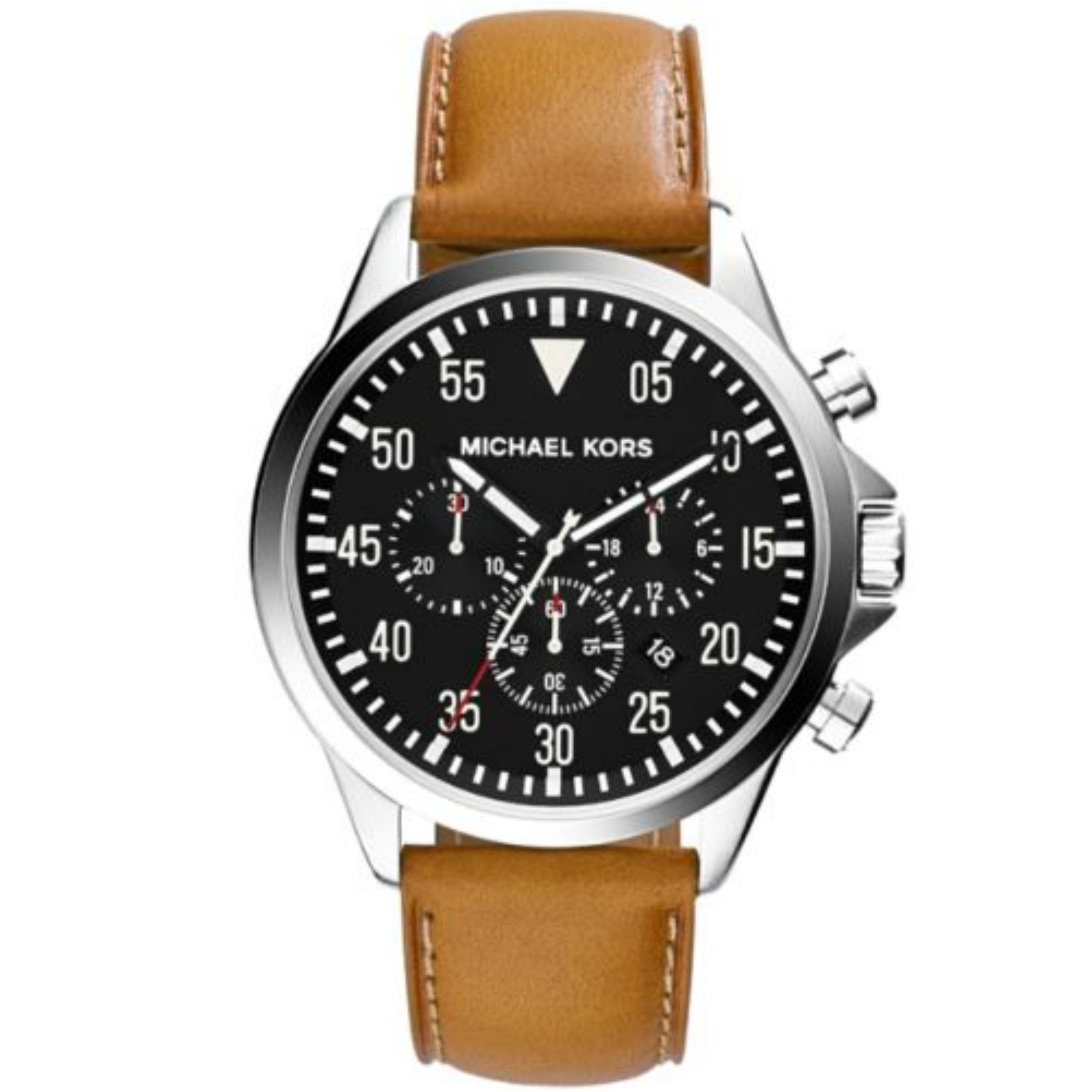 Michael Kors Gage Men's Black Dial Tan Leather Strap Round Chrono Analog Watch