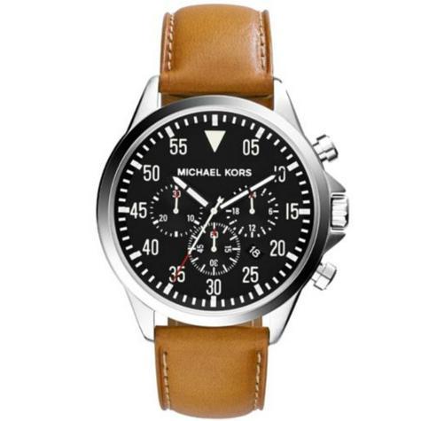 Michael Kors Gage Men's Black Dial Tan Leather Strap Round Chrono Analog Watch Thumbnail 1