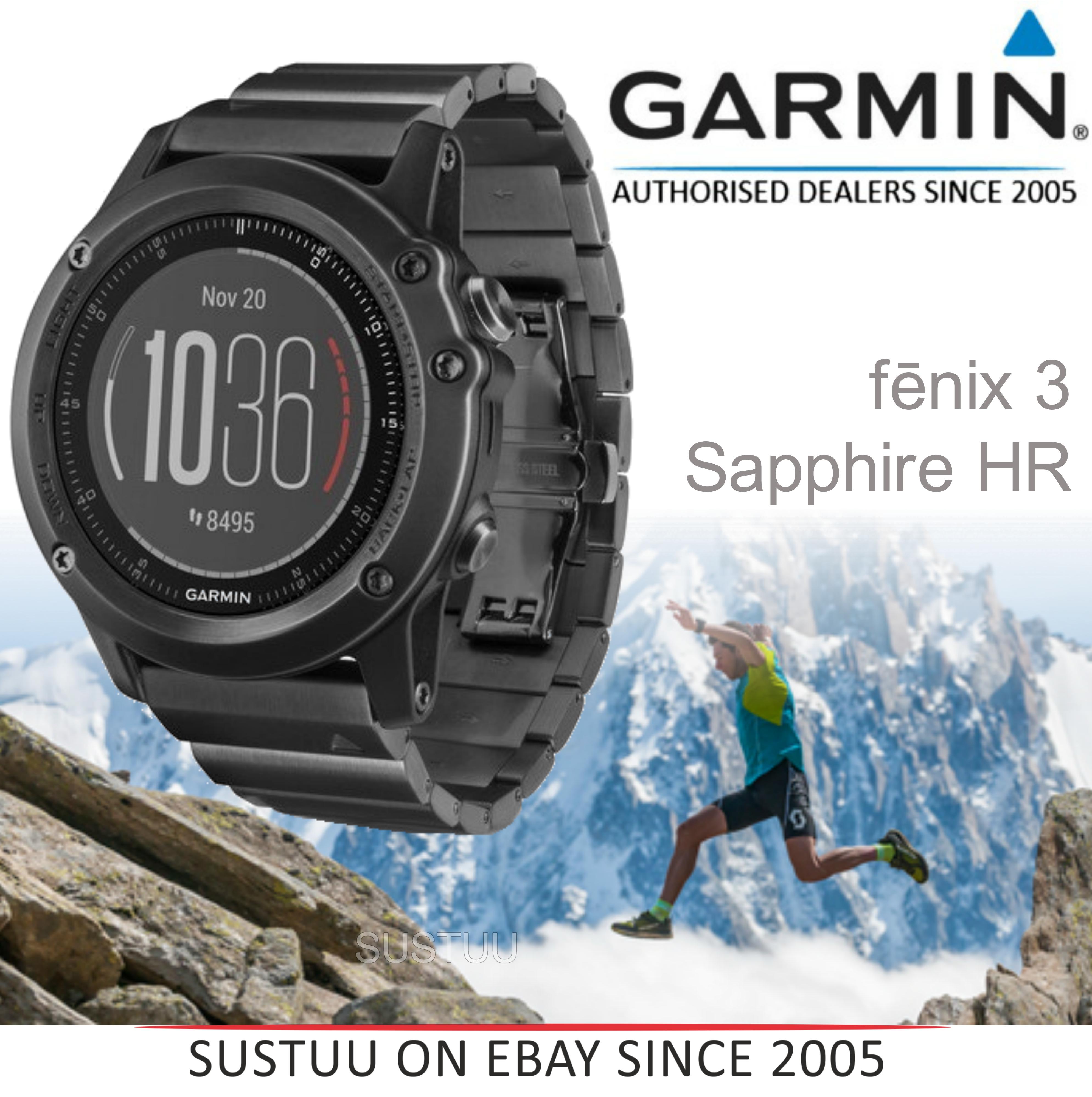 a82df9deb8 Fenix 3 Sapphire HR?GPS-GLONASS Smartwatch?HRM?Running-Multisport?Silicone-Black  | Sustuu