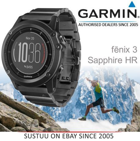 Fenix 3 Sapphire HR?GPS-GLONASS Smartwatch?HRM?Running-Multisport?Silicone-Black Thumbnail 1