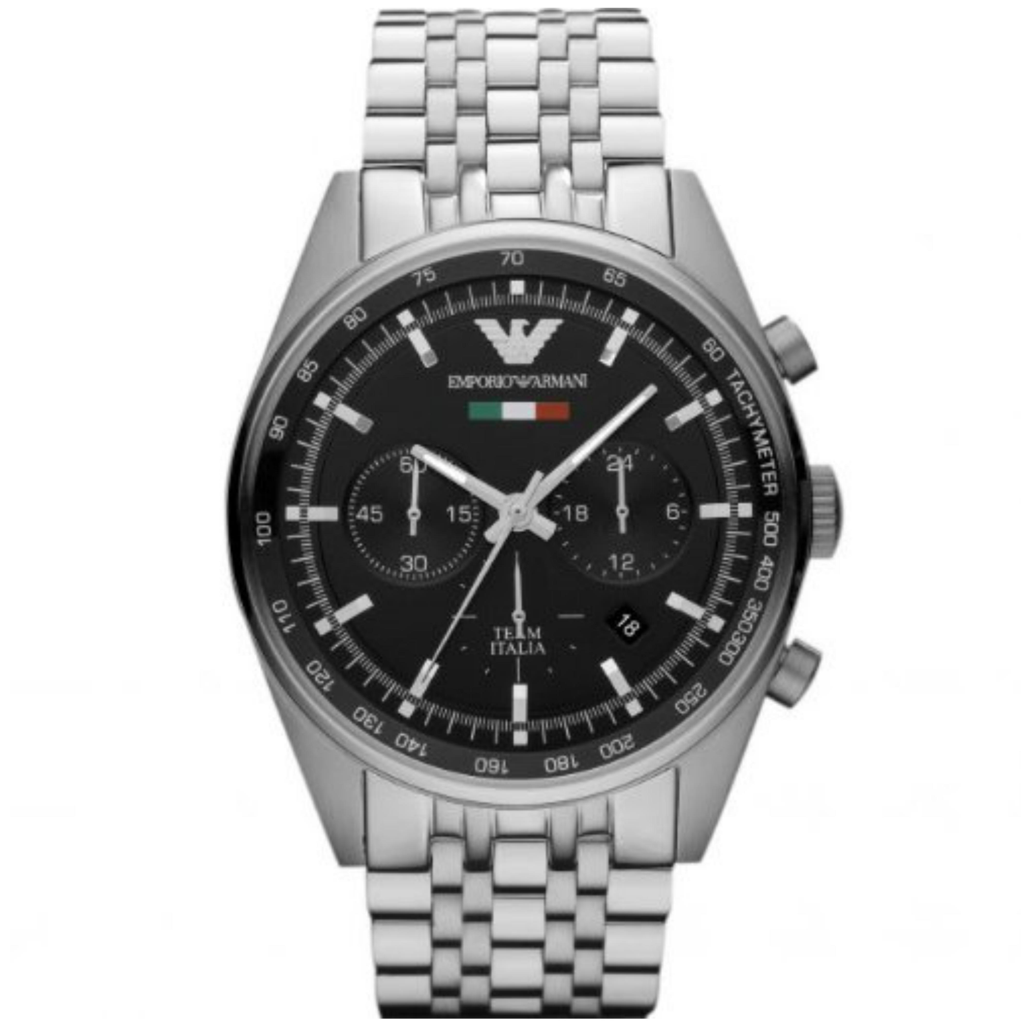 Emporio Armani Men's Black Dial Chronograph Analogue Round Dial Watch AR5983