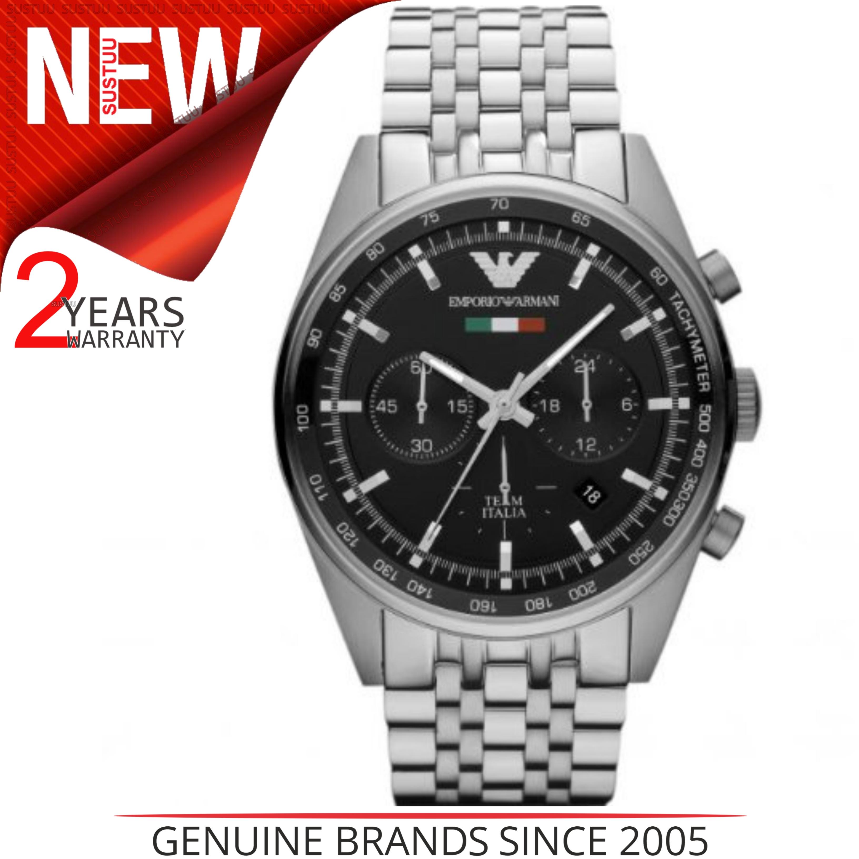 Emporio Armani Men's Sportivo Watch?Chronograph Black Dial?Stainless Band?AR5983