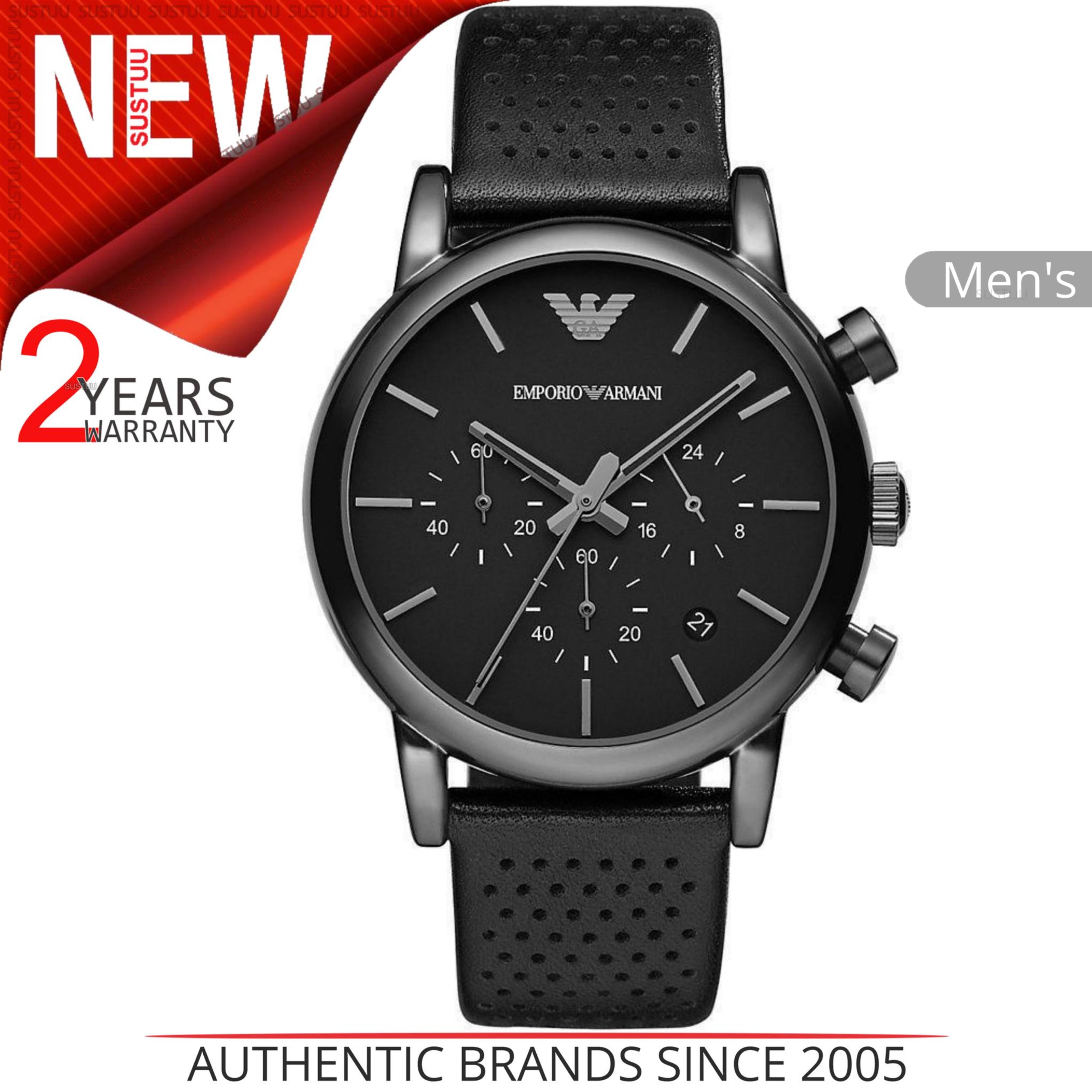 8e573851810fb Details about Emporio Armani Classic Men s Watch│Black Chronograph  Dial│Leather Strap│AR1737