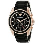 Emporio Armani Sportivo Men's Chronograph Black Dial Rubber Strap Watch AR6066