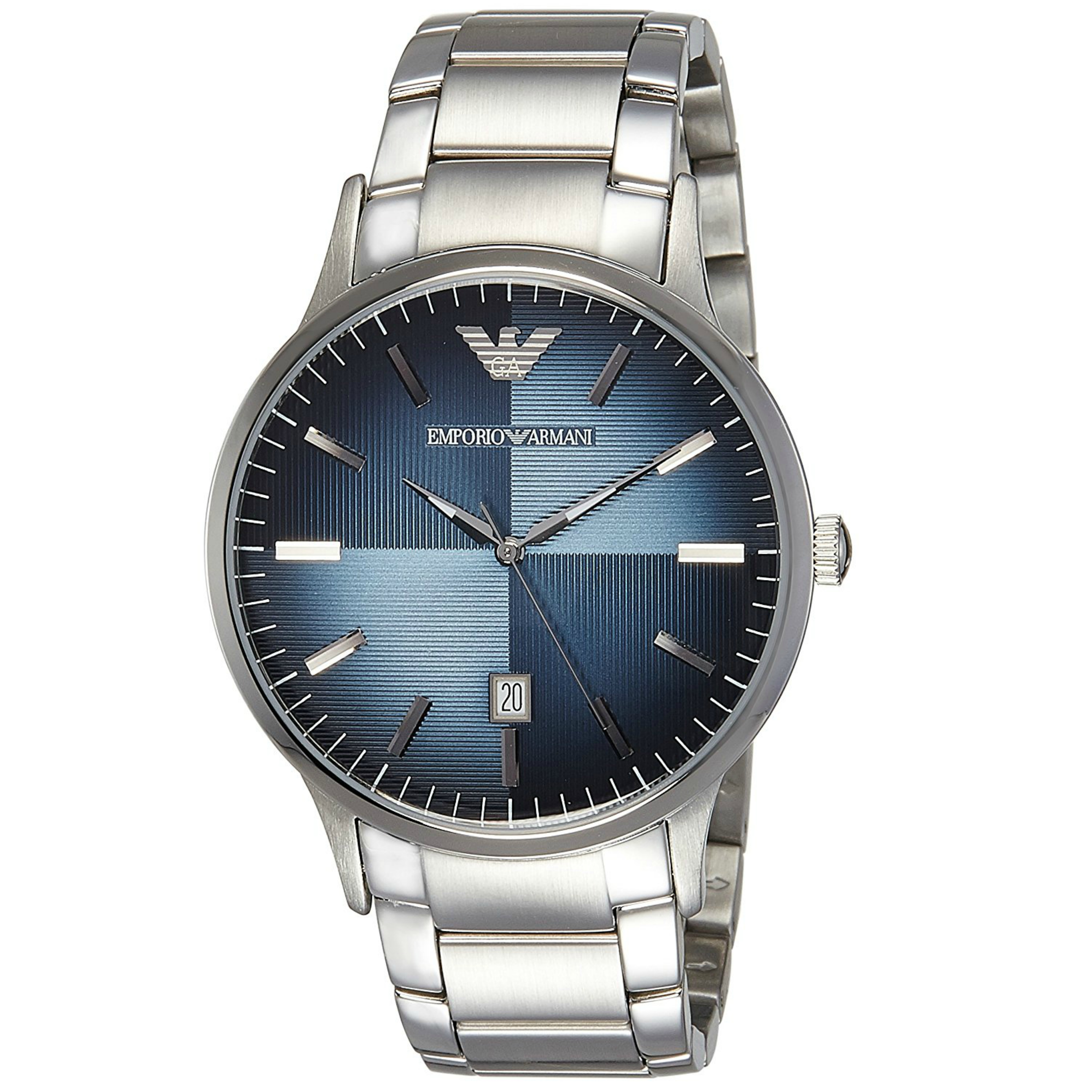 Emporio Armani Renato Blue Analog Metal Dial Silver Bracelet Men's Watch -AR2472