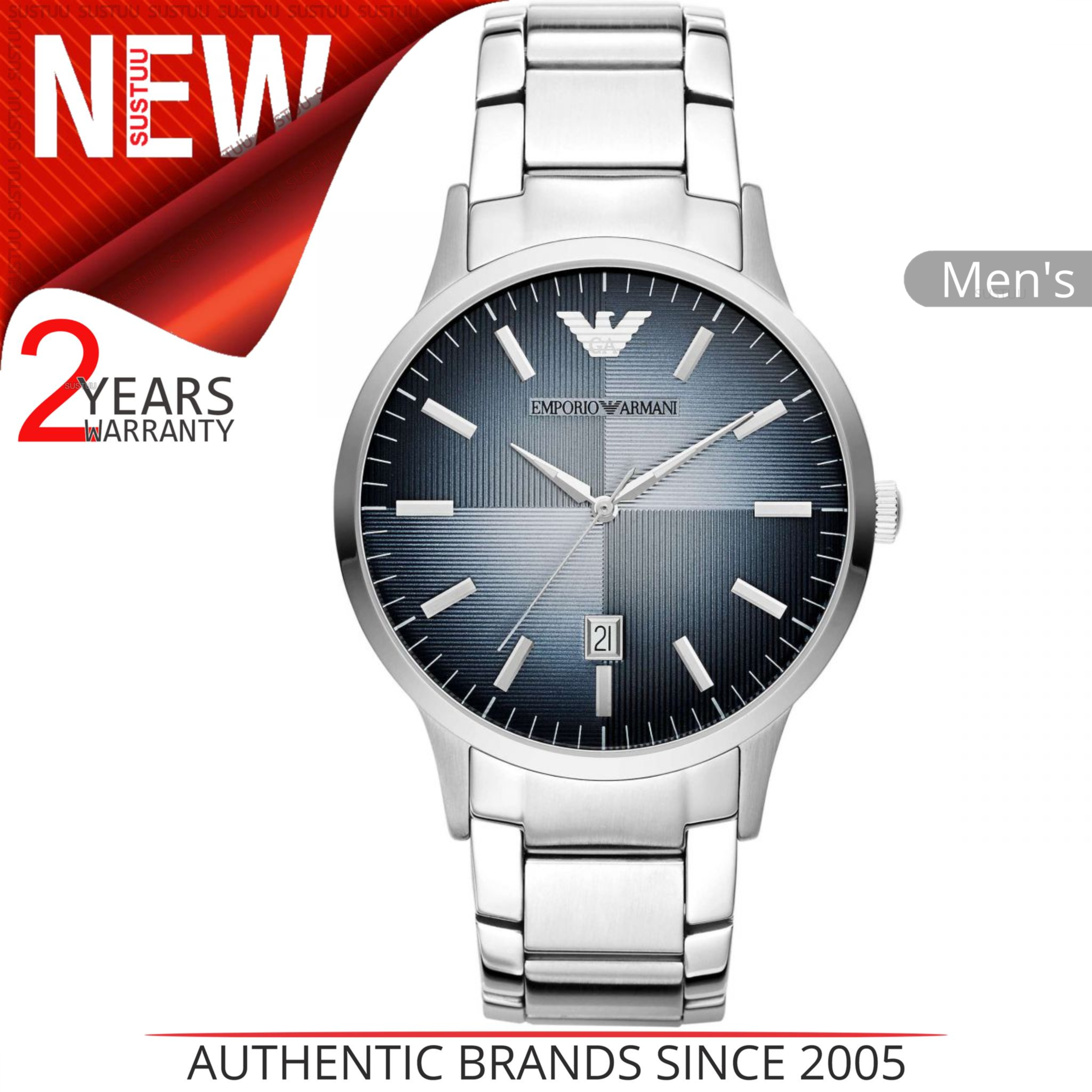 Details about Emporio Armani Classic Men s Watch│Blue Analog Metal  Dial│Silver Bracelet│AR2472 bfc3e65a2a