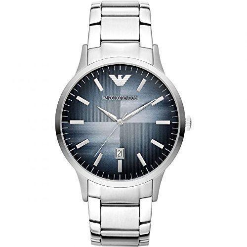 Emporio Armani Classic|Men's|Blue Analog|Metal Dial|Silver Bracelet|Watch AR247|