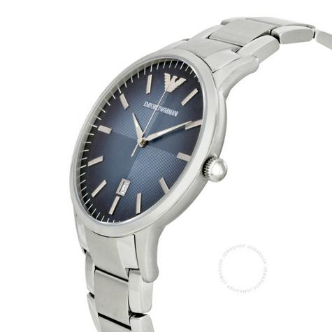 Emporio Armani Renato Blue Analog Metal Dial Silver Bracelet Men's Watch -AR2472 Thumbnail 2