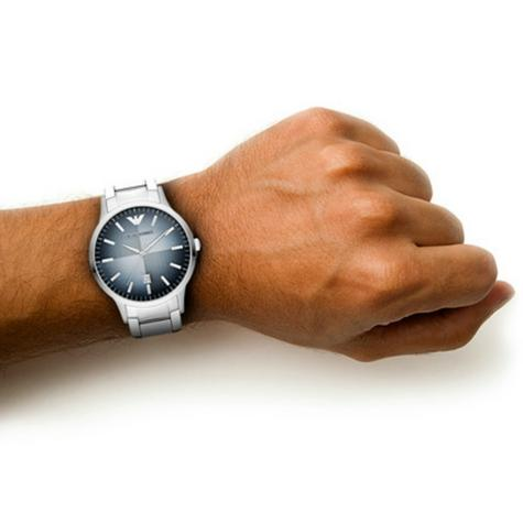 Emporio Armani Renato Blue Analog Metal Dial Silver Bracelet Men's Watch -AR2472 Thumbnail 6