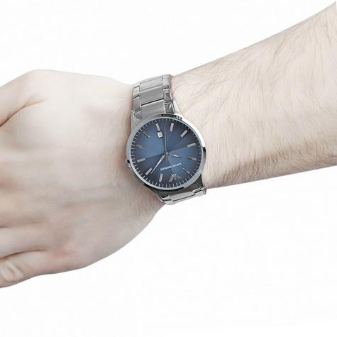 Emporio Armani Renato Blue Analog Metal Dial Silver Bracelet Men's Watch -AR2472 Thumbnail 7