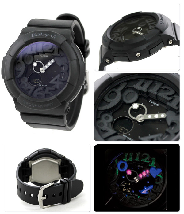 27895bd09c77 Casio Baby-G 3D Combi All Black Neon-Illuminator BGA-131-1BER Watch ...