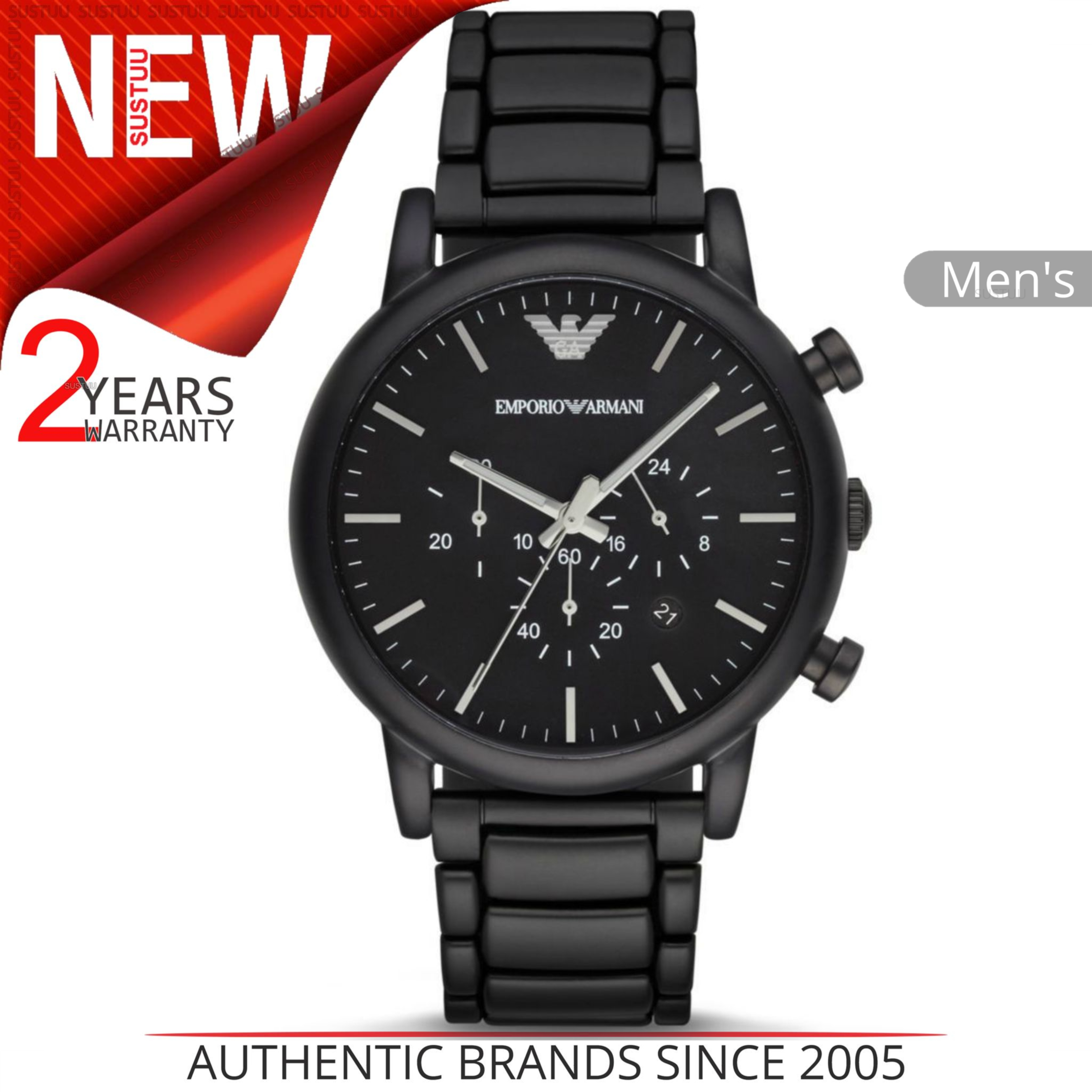 Emporio Armani Classic Men's Watch?Chrono Black Stainless Brushed Dial?AR1895