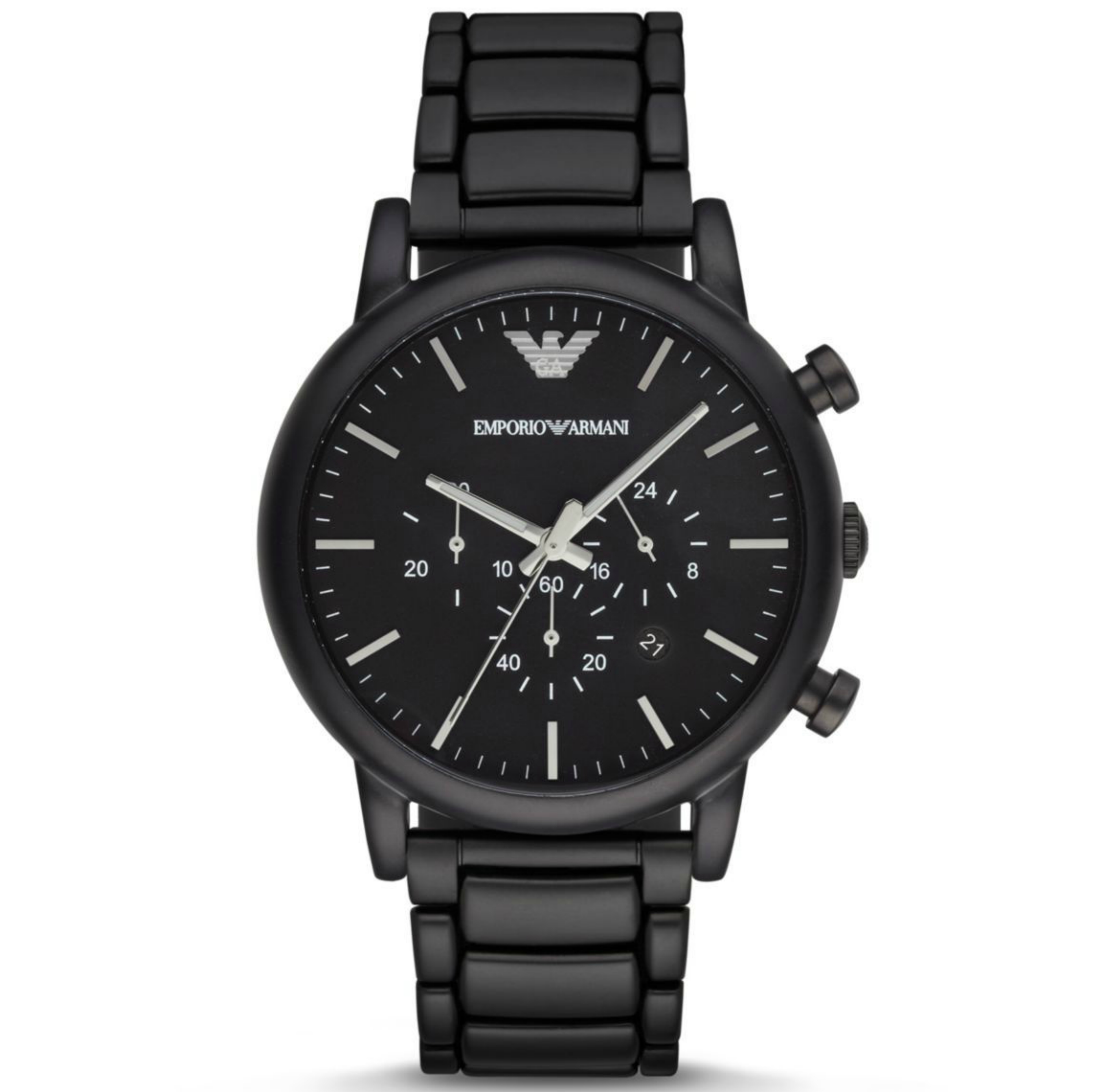 Emporio Armani Men's Chronograph Stainless Steel Black Brushed Dial Watch-AR1895