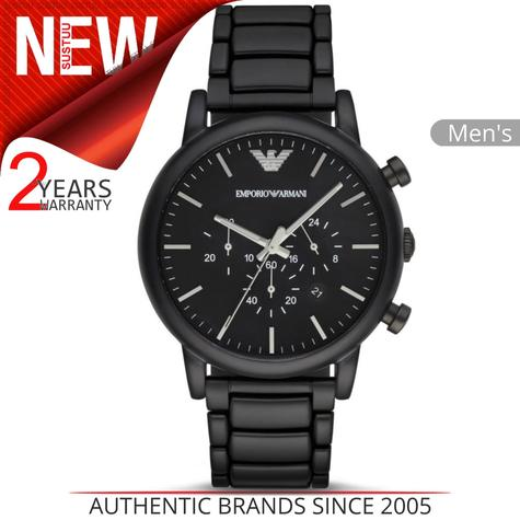 Emporio Armani Classic Men's Watch?Chrono Black Stainless Brushed Dial?AR1895 Thumbnail 1