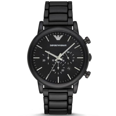 Emporio Armani Men's Chronograph Stainless Steel Black Brushed Dial Watch-AR1895 Thumbnail 1