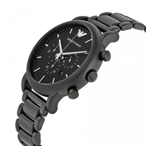Emporio Armani Men's Chronograph Stainless Steel Black Brushed Dial Watch-AR1895 Thumbnail 2