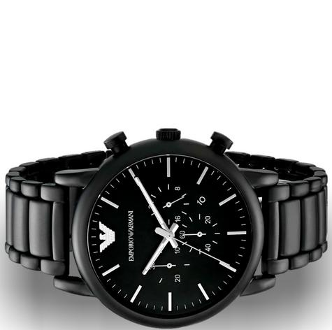 Emporio Armani Men's Chronograph Stainless Steel Black Brushed Dial Watch-AR1895 Thumbnail 5