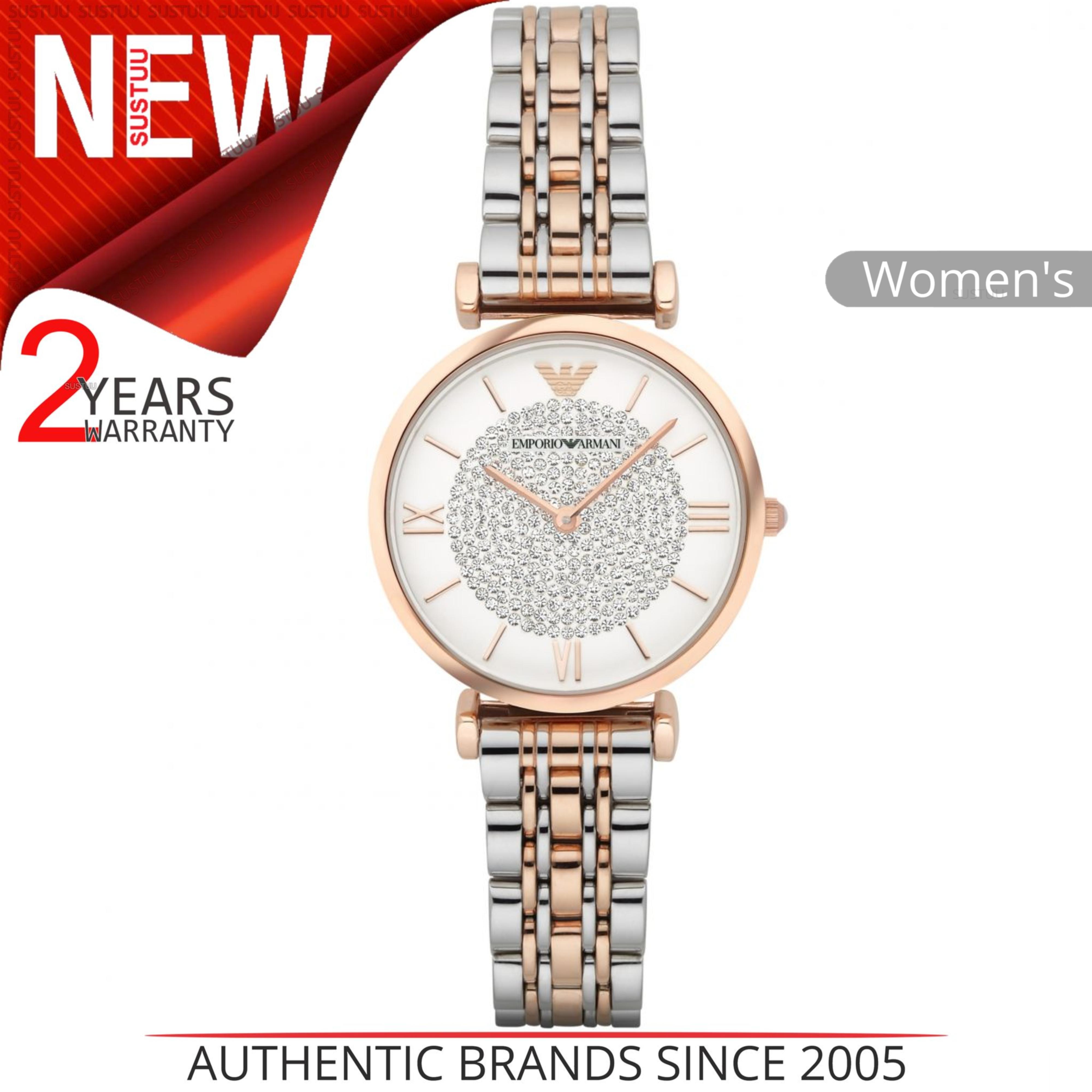 Emporio Armani Women's Watch|White Crystal Pave Dial|Two Tone Bracelet|AR1926