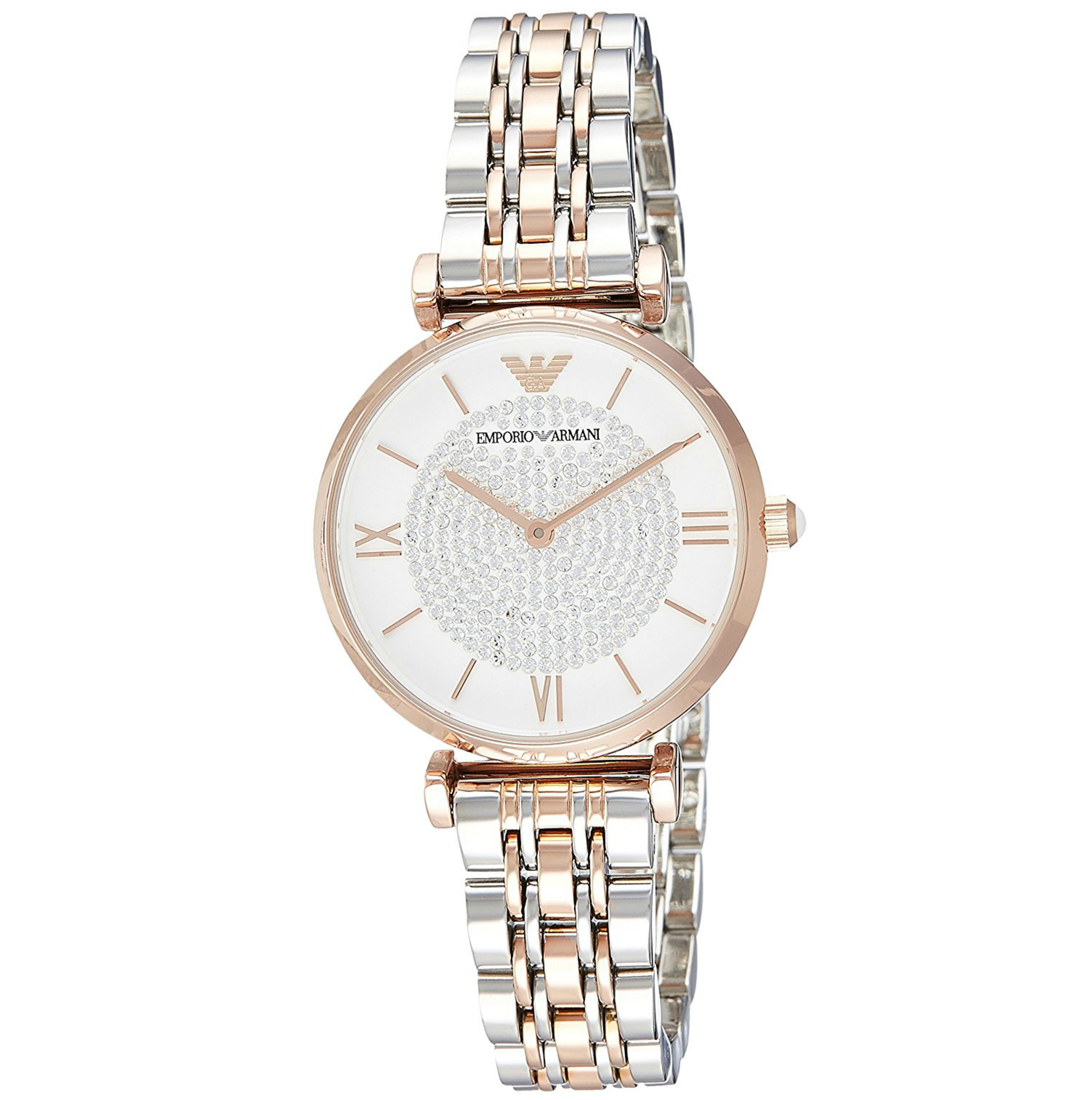 Emporio Armani White Crystal Pave Dial Twotone Ladies Metal Bracelet Round Watch