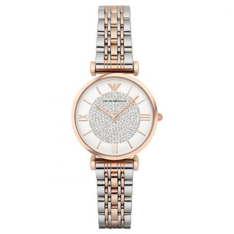 Emporio Armani Women's Watch|White Crystal Pave Dial|Two Tone Bracelet|AR1926 Thumbnail 2