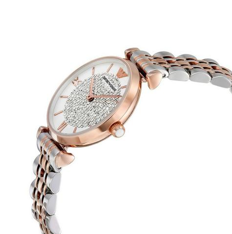 Emporio Armani White Crystal Pave Dial Twotone Ladies Metal Bracelet Round Watch Thumbnail 2