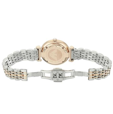 Emporio Armani White Crystal Pave Dial Twotone Ladies Metal Bracelet Round Watch Thumbnail 5
