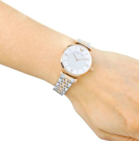 Emporio Armani White Crystal Pave Dial Twotone Ladies Metal Bracelet Round Watch Thumbnail 6