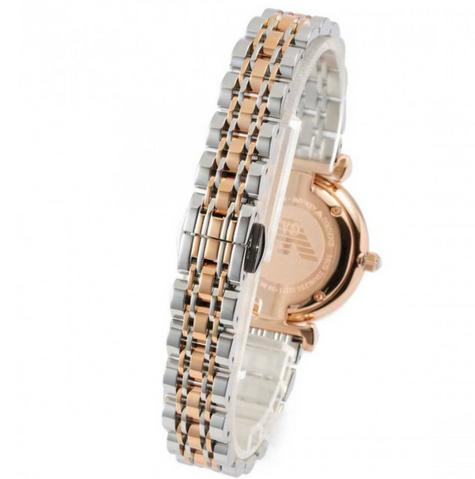 Emporio Armani White Crystal Pave Dial Twotone Ladies Metal Bracelet Round Watch Thumbnail 7