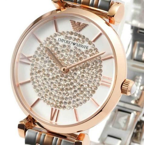 Emporio Armani White Crystal Pave Dial Twotone Ladies Metal Bracelet Round Watch Thumbnail 4