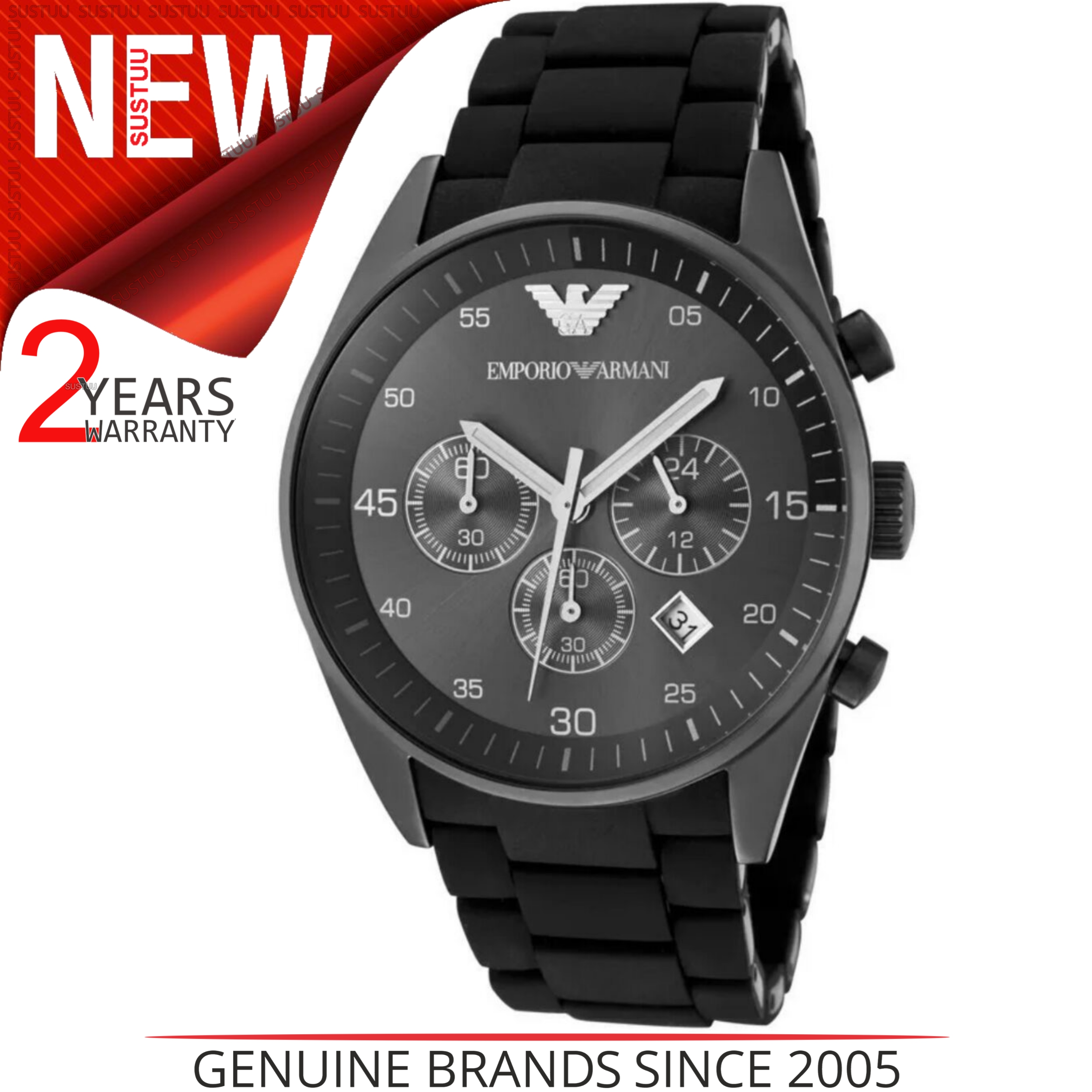 Emporio Armani Sportivo Mens Black Dial Chronograph Stainless Steel Watch AR5889