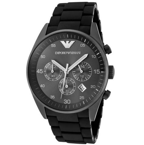 Emporio Armani Sportivo Mens Black Dial Chronograph Stainless Steel Watch AR5889 Thumbnail 2