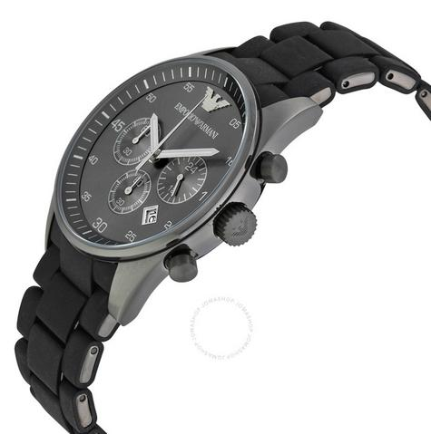Emporio Armani Sportivo Mens Black Dial Chronograph Stainless Steel Watch AR5889 Thumbnail 3
